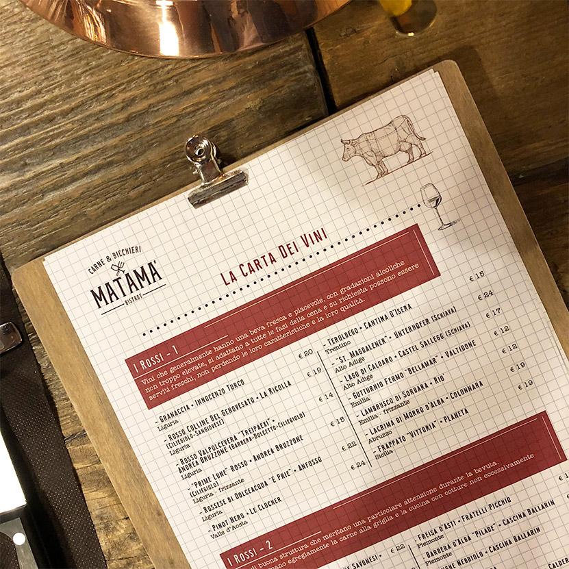 menu vini